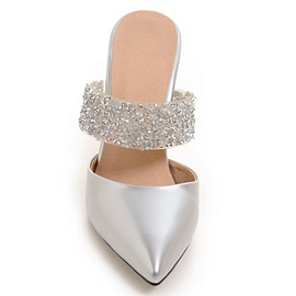 PU Slip-On Closed Toe Sequins Women's Heel Sandals