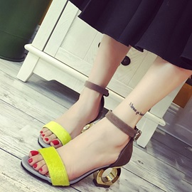 PU Ankle Strap Shaped Heel Open Toe Women's Sandals