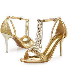 PU Buckle Rhinestone Chain Heel Covering Women's Sandals