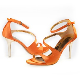 Silk Fabric Line-Style Buckle High Heel Women's Sandals