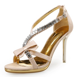 PU Buckle Rhinestone Bow Women's Heel Sandals