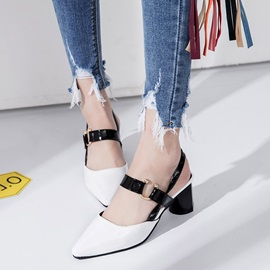 PU Slip-On Block Heel Pointed Toe Women's Sandals