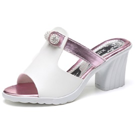 PU Slip-On Flip-Flop Rhinestone Slide Sandals for Women