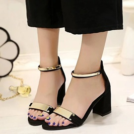 PU Zipper Black and Gray Open Toe Women's Sandals