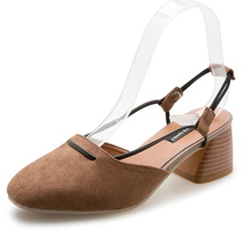 Suede Slip-On Block Heel Women's Simple Sandals