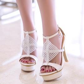 PU T-Shaped Buckle Platform Rhinestone Women's Heel Sandals