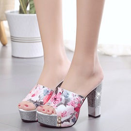 PU Slip-On Platform Flip Flop Floral Sandals