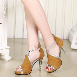 PU Zipper Sexy Stiletto Heel Women's Sandals
