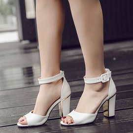 PU Line-Style Buckle Heel Covering Block Heel Women's Sandals