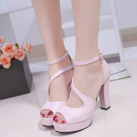 PU Open Toe Block Heel Sandals for Women