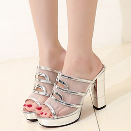Mesh Slip-On Shining Women's Block Heel Sandals