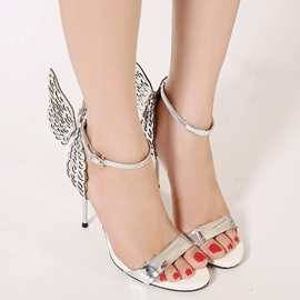 Banquet PU Hollow Bow Women's Heel Sandals
