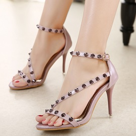 PU Buckle Rivets Heel Covering Women's Heel Sandals