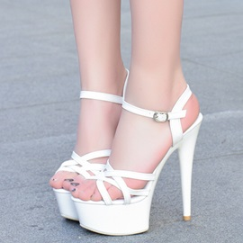 PU Simple Line-Style Buckle Women's Heels