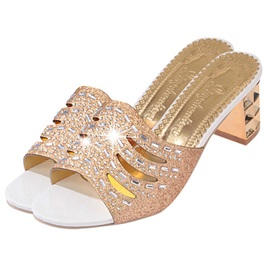 PU Hollow Rhinestone Slip-On Block Heels