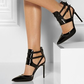 Black Chic Caged Stiletto Pumps
