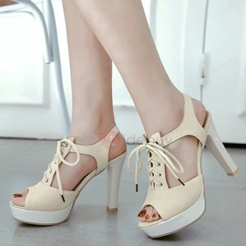 PU Lace-Up Platform High Heel Women's Nice Shoes