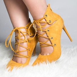 Yellow Lace Up Stiletto Heels