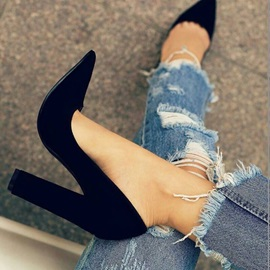 Black Pointed Toe Chunky Heel Pumps