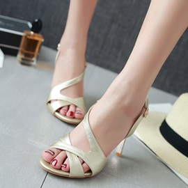 PU Buckle Stiletto Heel Elegant Sandals