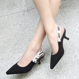 Cloth Black Elastic Band Women's Heel Pumps