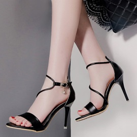 PU Buckle Sexy Open Toe Stiletto Heels
