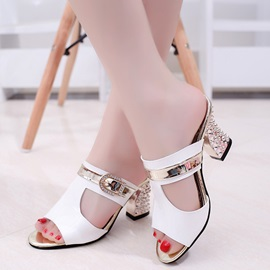 PU Slip-On Hollow Rhinestone Flip Flops for Women