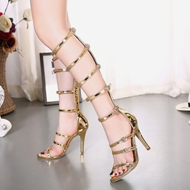 PU Zipper Glittering Heel Women's Gladiator Shoes