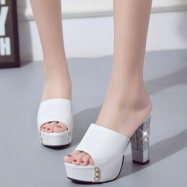 PU Slip-On Platform Block Heel Sandals