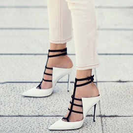 Color Block Closed Toe Heel Sandals