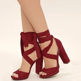 Cross Strap Chunky Heel Sandals