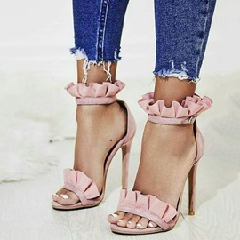 Faux Suede Open Toe Stiletto Heel Pink Sandals