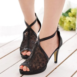 Mesh Zipper Heel Covering Women's Stiletto Sandals