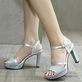 PU Shining Platform Open Toe Block Heels