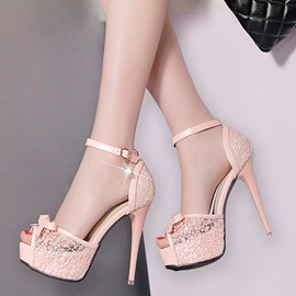 Mesh Platform Rhinestone Heel Covering Women's Sandals