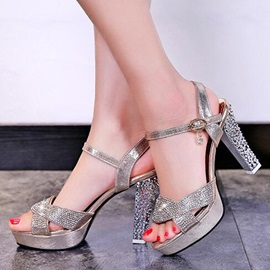 PU Rhinestone Block Heel Open Toe Women's Sandals