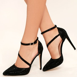 Rhinestone Pointed Toe Line-Style Buckle Pumps
