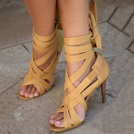 PU Open Toe Stiletto Heel Yellow Sandals