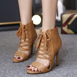 PU Lace-Up Hollow Plain Women's Stiletto Sandals
