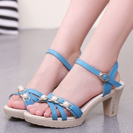 PU Chunky Heel Strappy Open Toe Women's Sandals