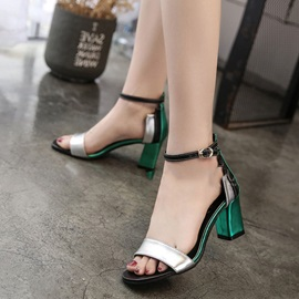PU Heel Covering Patchwork Block Heel Women's Sandals