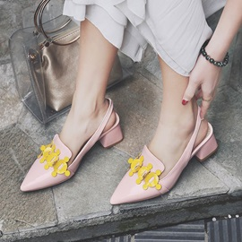 PU Closed Toe Color Block Slingback Shoes