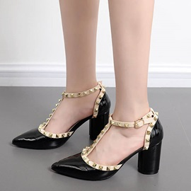 PU T-Shaped Buckle Rivets Block Heel Pumps