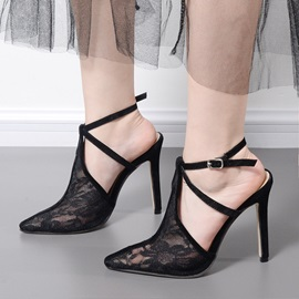 Mesh Closed Toe Plain Stiletto Sexy Sandals