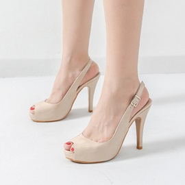 Patent Leather Peep Toe Buckle Slingback Pumps