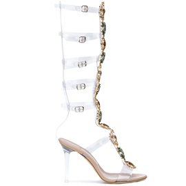 PVC Rhinestone Buckle Strappy High Shaft Sandals