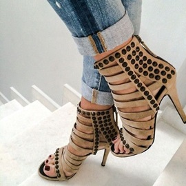 Faux Suede Rivets High-Cut Upper Stiletto Sandals
