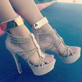 Suede Chain Sequin Heel Covering High-Cut Uppers