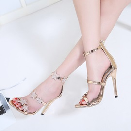 PU Zipper Open Toe Heel Covering Women's Sandals