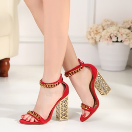 Suede Fabric Heel Covering Chunky Heel Women's Sandals